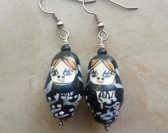 50% OFF Matryoshka Doll Earrings - Russian Nesting Doll Earrings - Black and White Dangle Earrings (Ready to Ship)