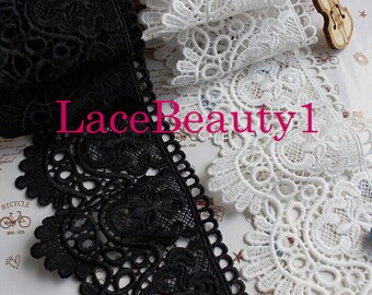 Embroidery cotton lace trim white/black Lace Trim Vintage Lace trim floral lace trim 8cm width 1 yard length
