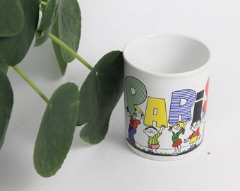 1980s 'Paris' Print White Mug