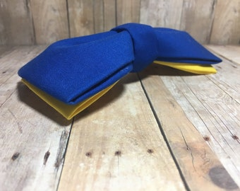 Royal Blue w/ Yellow Bow-Tie | CupcakePups Collars | Medium/Large Dog Bow Tie