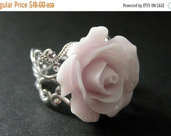 MOTHERS DAY SALE Pale Purple Rose Ring. Purple Flower Ring. Filigree Ring. Adjustable Ring. Flower Jewelry. Handmade Jewelry.