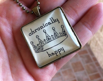Chronically Happy Cabachon Brass Necklace