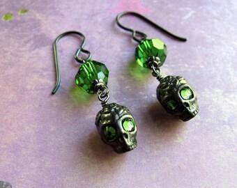 Skull Earrings, Halloween Earrings, Swarovski Earrings, Halloween Jewelry, Holiday Earrings, Skull Earrings, Green Earrings, Goth Earrings