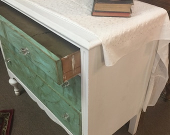 Antique upcycled White/turquoise green Dresser