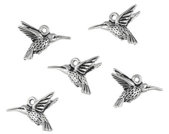 Silver Hummingbird Charms - TierraCast HUMMINGBIRD DROP - Antique Silver Charms - Humming Bird Spring Summer Jewelry Supplies (P219)