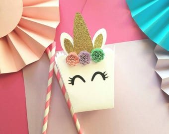 Unicorn Party Decorations - Unicorn Favors - Unicorn Favor Box - Unicorn Treat Bags - Unicorn First Birthday - Unicorn Theme