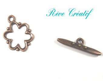 Clasps flower Toggle clasps T, 19mm x 15mm x 1.5 mm hole 2 mm, bar 24x6x4mm, red copper colored metal, 10 pieces