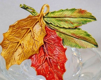 SUPER SALE Vintage Autumn Leaf Brooch and Pendant. Tara. Orange Yellow Green Fall Leaves Pin.