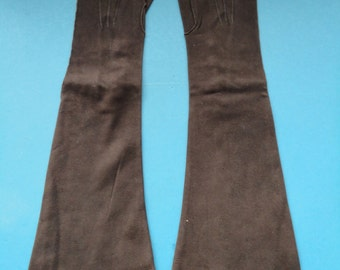 Vintage Choclate Brown Suede Kid Elbow Length Gloves - 1940s  - Size 6.5 - Unworn New Old Stock - Goth, Steampunk, Revival - Top Quality