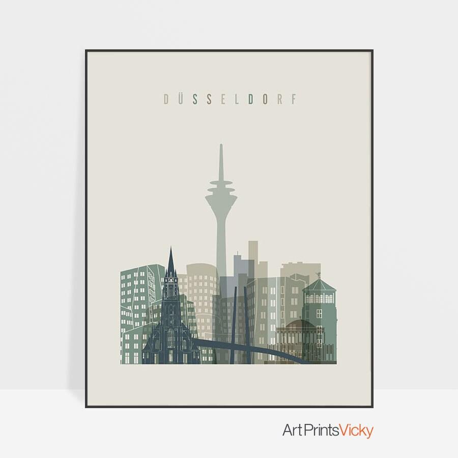 Düsseldorf Art Print, Poster, Wall Decor, Düsseldorf Skyline, Germany City  Print, Travel Decor, Gift, Home Decor, ArtPrintsVicky