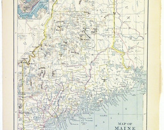 Original 1879 Color Atlas Map of The State Of Maine by Van Antwerp Bragg & Co., County Map Showing Cities and Counties Wall Art Decor Print