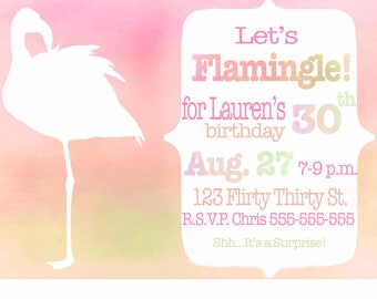 Flamingo Watercolor Invitation