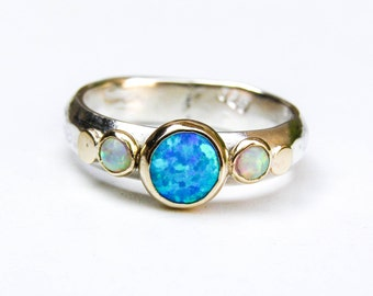Blue Opal Ring, Multistone Rings ,14k Gold Ring ,Statement ring, Wedding set, Opal Ring, Anniversary ring, Gift for her, Bridal set ring