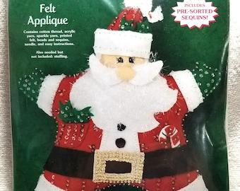 Decorative Santa, Feltworks Applique by Dimensions 8142, Santa Star Pillow kit, unopened, NIP,