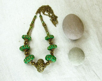 Brass green ethnic necklace.