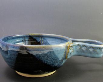 Stoneware Shaving Bowl, Floating Blue and Mirror Black