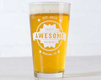 """CUSTOMIZED PINT GLASSES - """"Awesome"""" design screen printed 16oz. beer glass"""