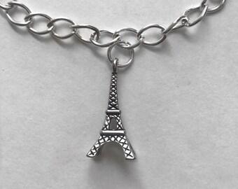 Eiffel Tower Paris Silver Charm Bracelet