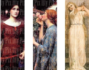 John William Waterhouse Digital Collage Sheet - 1 x 3 inch rectangle digital collage - microscope slide collage sheet - Instant Download