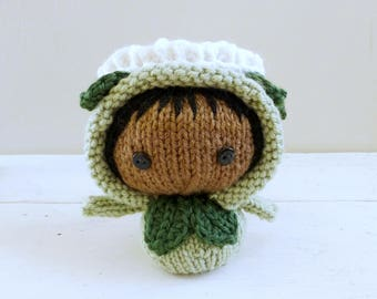 Baby Doll, Zinnia Baby Alina, Knit Amigurumi Doll, Crochet Flower - Garden Party Collection