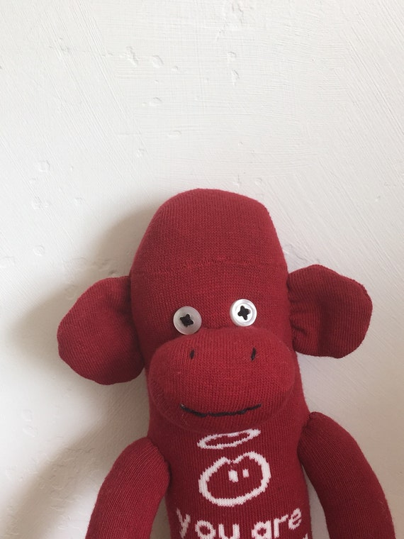 Sock Monkey soft toy handmade re-purposed INNOCENT SMOOTHIES sock
