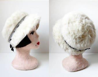 1960s vintage white ivory cream angora rabbit fur rhinestone black velvet ribbon felt cloche hat