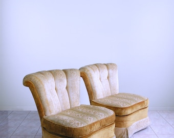 2 enormous HOLLYWOOD regency CHANNEL BACK slipper chairs dorothy draper mid century tufted boudoir chairs