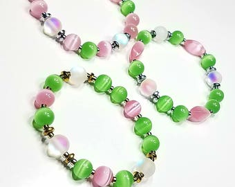 Trio Pretty Girl Pearls Pink and Green