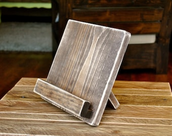 Wood Tablet or Cookbook Stand for the Kitchen or Office - Distressed - 3 SIZES AVAILABLE - iPad Stand