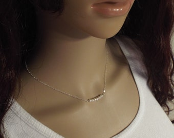 Sterling Silver  Pearl Necklace-  Dainty petite pearls silver 925 jewelry- Tiny Pearl Necklace
