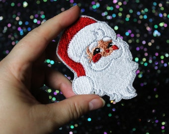 Retro Santa Brooch, Christmas Pin, Father Christmas Badge
