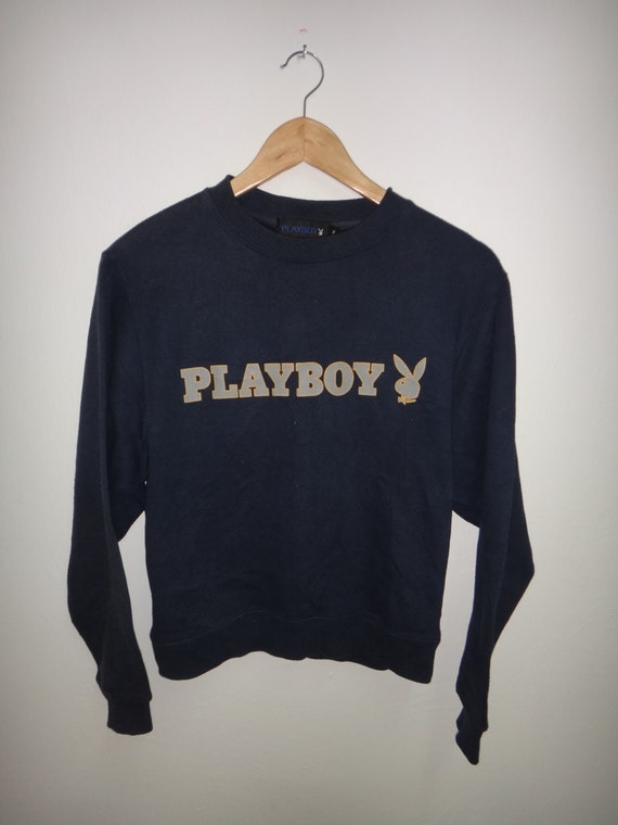 Vintage Playboy Sweatshirts Jumper Pullover Embroidery Logo Hiphop Style Grey Colour PsSW5N