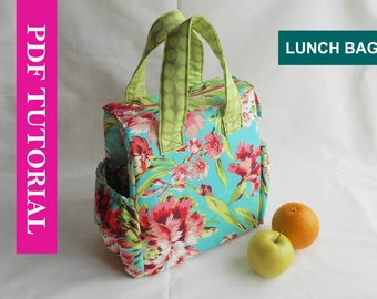 Insulated Lunch Bag PDF Pattern, Tote Bag Sewing Pattern, PDF Lunch Bag Pattern with detailed instructions and pattern pieces (UPDATED)