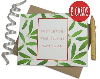 Christmas Card Set, Funny Christmas Cards, Christmas Card Pack, Mistletoe, Silent Wingman, Funny X-Mas Cards, Holiday Greetings