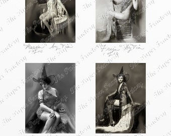 Vintage Erotic Witches Series 1 Limited Edition ACEO Digital Collage Sheet Instant Download