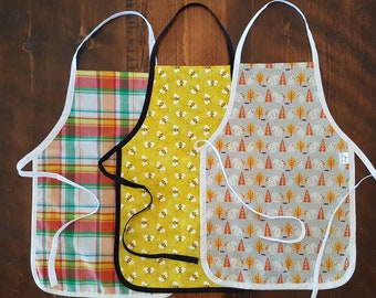 Kids Apron - child size - ready to ship - various prints
