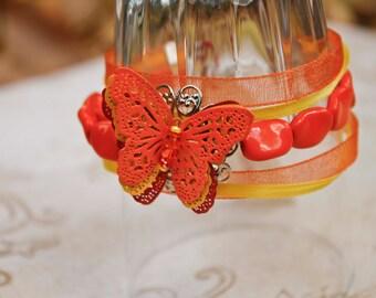 Papillon orange Bracelet en filigrane - multirangs, rouge, jaune