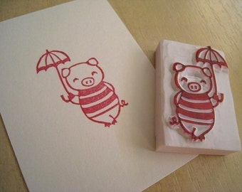 Mary Poppin Boo - Handcarved Rubber Stamp of Cute Piggy with an Umbrella