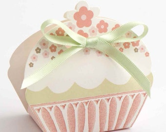 10 x Cupcake Wedding Favour Boxes available in Pink or Taupe | DIY Favour Boxes | Flatpack Favour Boxes | Wedding Favour | Tea Party Favours