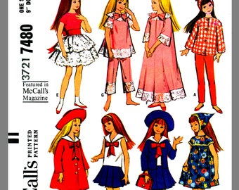 Instant Download Skipper Doll Wardrobe Vintage McCall's Fabric Material Sewing Pattern #7480 PDF Delivery