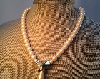 Wedding Necklace, Pearl Rhinestone Pendant Necklace, Pearl Necklace, Vintage 80's Jewelry