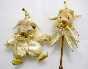 2 Vintage Victorian satin & lace teddy bear jesters Christmas ornaments