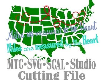 SVG Miles Apart Cut Files State Love DiY MTC SCAL Cricut Silhouette Cutting File