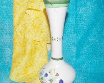 Lovely Vintage Ceramic Mexican Flower Vase With Floral Design