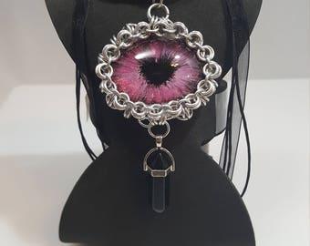 Pink dragon eye pendant, dragon eye pendant, handcrafted, hand painted, OOAK, dragon eye with heart pupil, 40x30mm dragon eye pendant