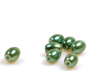 Glass pearl grass green - beads green - oval 10x8 mm - 55 pieces - jewelry supplies beads