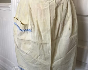 Vintage Ladies' Yellow Cotton Half Apron with Blue and White Gingham Check Trim