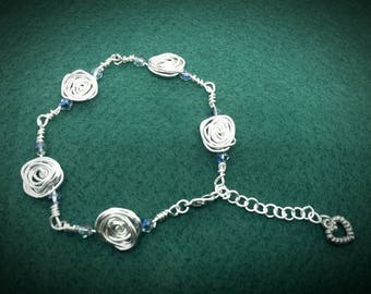 Mothers day gift. Crystal Rose Bracelet - silver rose and crystal bracelet.
