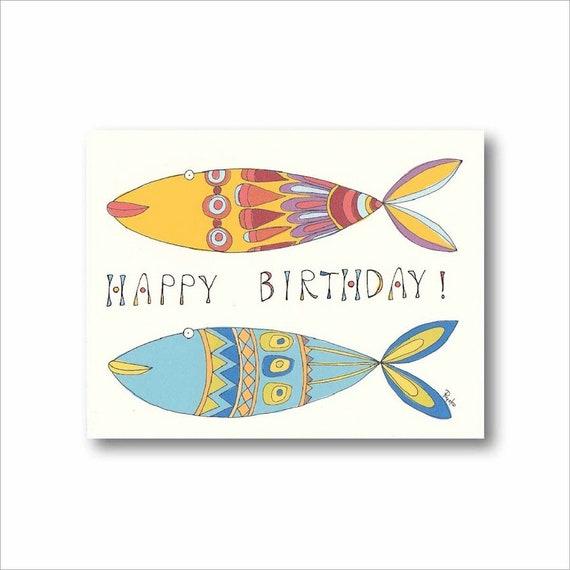 Cute Fish Birthday Card Sea Creature Cards Nautical Birthday