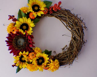 Fall Wreath, Front Door Wreath, Sunflower Wreath, Year Round Wreath, Spring Door Wreaths, Mothers Day, Ready to Ship
